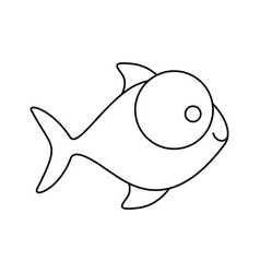 Figure fish with big eyes icon vector