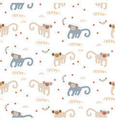 funny monkeys seamless pattern cute apes childish vector image
