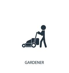 Gardener with lawn mower icon simple gardening vector