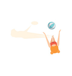 Girl playing ball on the beach top view vector