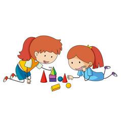 Girls playing block toys vector
