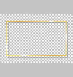 Gold frame square with golden border framework vector