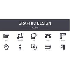 Graphic design concept line icons set contains vector