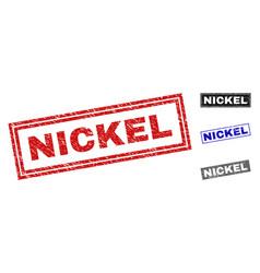 Grunge nickel textured rectangle watermarks vector