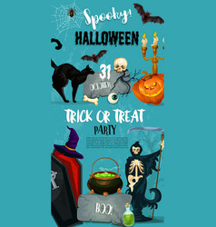 halloween party monster witch poster vector image