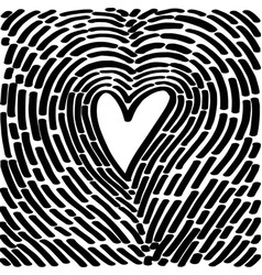 hand drawing heart in form a fingerprint vector image