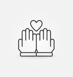 Hands and heart outline icon or logo vector