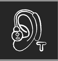 Hearing loop chalk white icon on black background vector