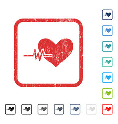 Heart pulse icon rubber watermark vector