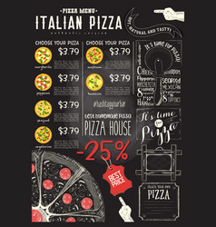 Italian pizza menu template vector