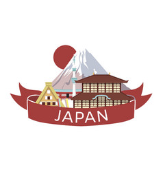 Japanese style objects accessories places of vector