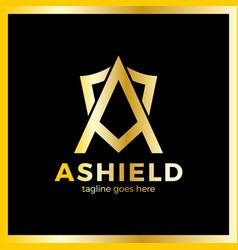 letter a shield logo vector image