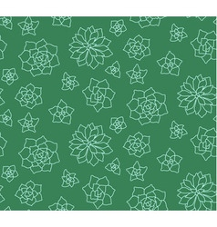 Line art succulent plant seamless pattern vector