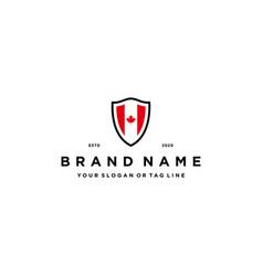 Maple flag and shield logo design concept vector