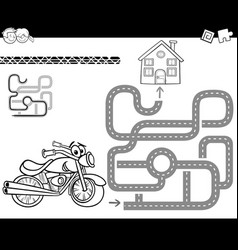 maze with bike for coloring vector image