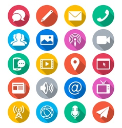 Media and communication flat color icons vector