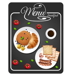 Menu for breakfast with toasted and pancake vector