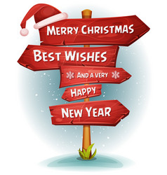 Merry christmas wood road signs arrows vector