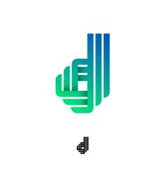 monogram b green ribbons strips paper letter logo vector image