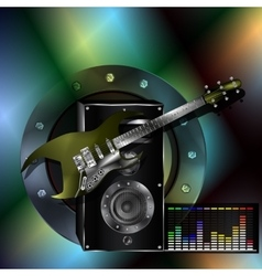 musical background with a guitar and a speaker vector image