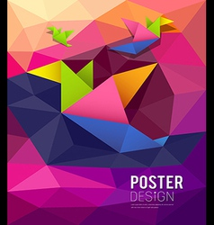 Origami paper birds shape geometric design vector