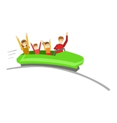 Parent And Kids On Rollercoaster Ride In Amusement vector