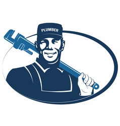 Plumber with a wrench in his hand vector