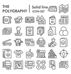 Polygraphy line icon set printing symbols vector