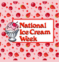 poster national week ice cream with popsicles and vector image