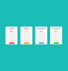 Price list subscriptions template vector