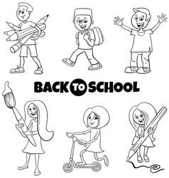 pupils children back to school cartoon color book vector image