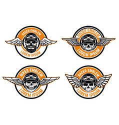 racer emblems set of winged emblems with skulls vector image