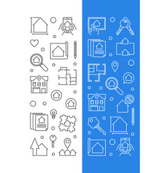 real estate set of 2 banners in thin line vector image