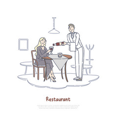 restaurant wine tasting degustation young woman vector image