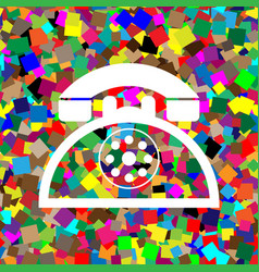 retro telephone sign white icon on vector image