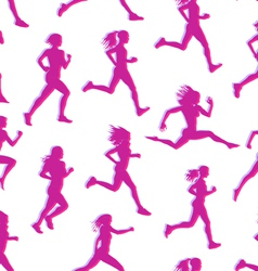 Runners realistic silhouettes seamless vector