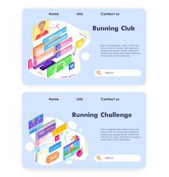 running club mobile phone app sport fitness vector image