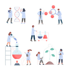 Scientists in lab team people in white coat vector