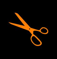 scissors sign orange icon on black vector image