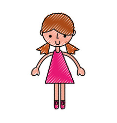 scribble pink girl cartoon vector image