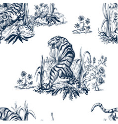 seamless pattern in chinoiserie style vector image