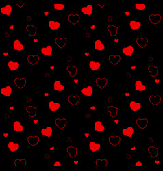 seamless pattern with red hearts on a black vector image
