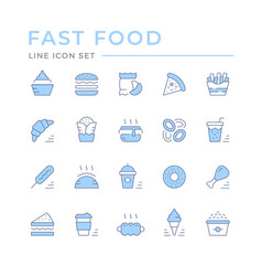 set color line icons fast food vector image