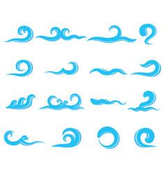 set of blue sea waves water splashing vector image