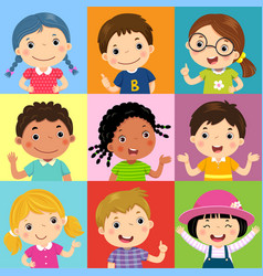 Set of different kids with various postures vector