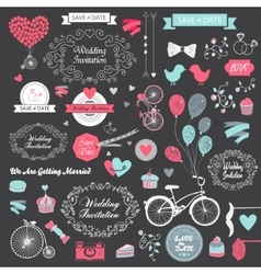 set of vintage hand drawn wedding design vector image