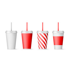 set paper cups for soda with straw isolated vector image