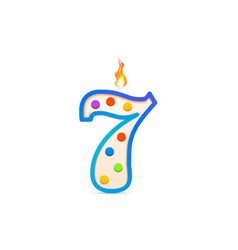 seven years anniversary 7 number shaped birthday vector image