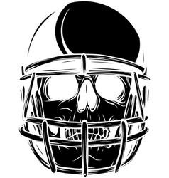 Silhouette of skull in helmet vector