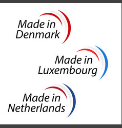 simple logos made in denmark made in luxembourg vector image